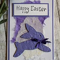 Easter Card - Purple Hopping Easter Bunny