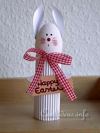 Easter Crafts - White Cardboard Tube Easter Bunny